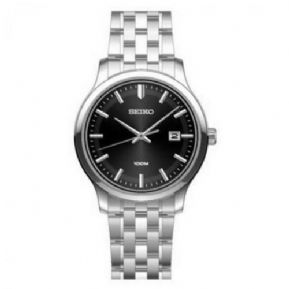 Seiko SUR145P1 100m Stainless Steel Black Dial Date Casual Dress Watch